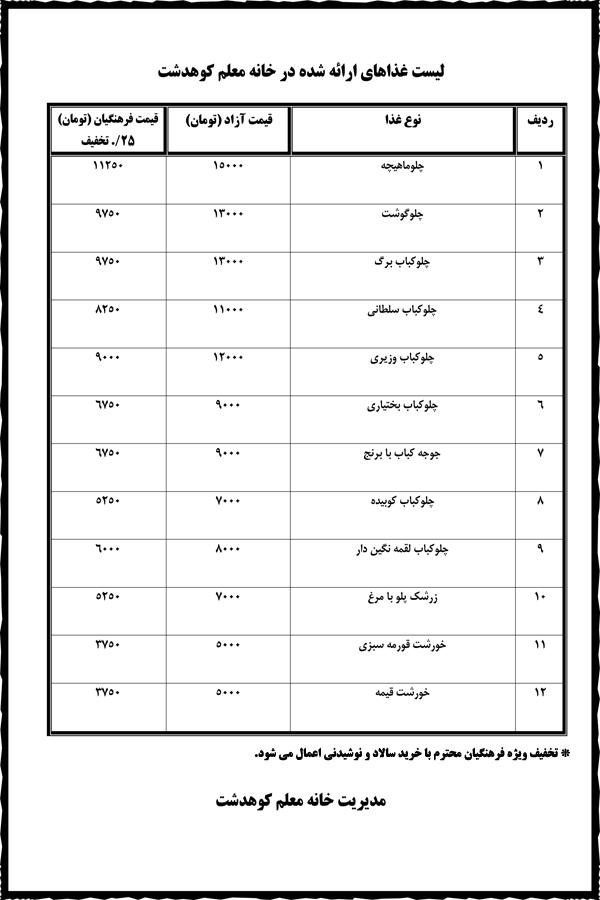 لیست غذاهای ارائه شده در خانه معلم کوهدشت۱